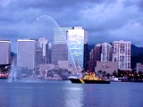 Fireboat and Honolulu Harbor Skyline